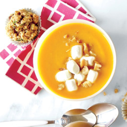 Gingered Sweet Potato Soup with Marshmallow and Peanut Topper