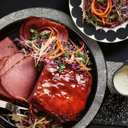 Glazed maple and bourbon corned beef with winter slaw recipe