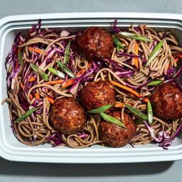 Glazed Meatballs With Soba Noodles