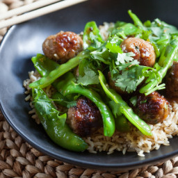Glazed Mini Pork Meatballs and Snow Peasover Brown Rice
