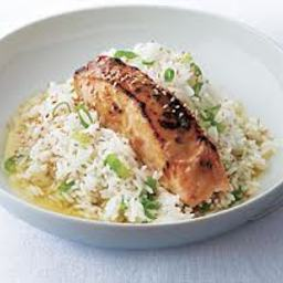 Glazed Salmon With Broccoli Rice