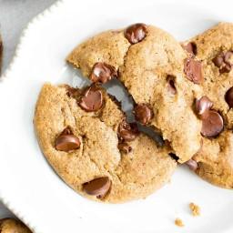 Gluten Free Almond Butter Chocolate Chip Cookies (Vegan, GF, Dairy-Free, Re