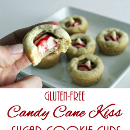 Gluten-Free Candy Cane Kiss Sugar Cookie Cups