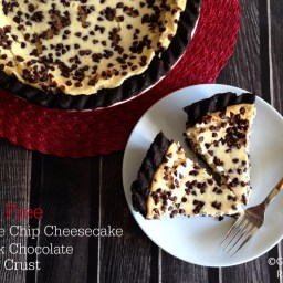 Gluten Free Chocolate Chip Cheesecake with Dark Chocolate Espresso Crust