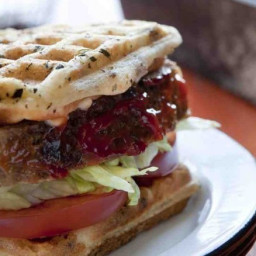 Gluten-Free, Dairy-Free Meatloaf Sandwiches on Sun-Dried Tomato Waffle Brea