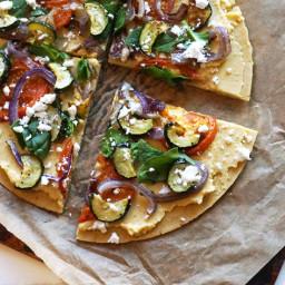 Gluten-free Mediterranean Chickpea Flour Pizza