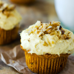 Gluten Free Pumpkin Walnut Muffins with Cream Cheese Frosting