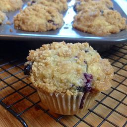 Gluten Free Vegan Blueberry Muffins with a Streusel Topping