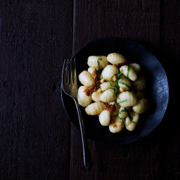 Gnocchi with Sun Dried Tomatoes, Pancetta and Roquefort Cheese