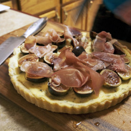 Goat Cheese and Rosemary Tart with Shaved Prosciutto and Armagnac-Macerated