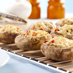 Goat Cheese Stuffed Mini Portobello Mushrooms