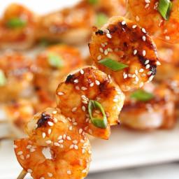 Gochujang-Honey Glazed Shrimp Skewers