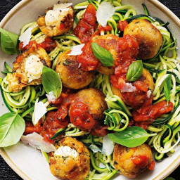 Golden cheesy quinoa balls with zoodles