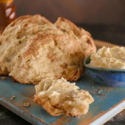 Golden Raisin-Fennel Semolina Soda Bread with Buttermilk-Orange Butter