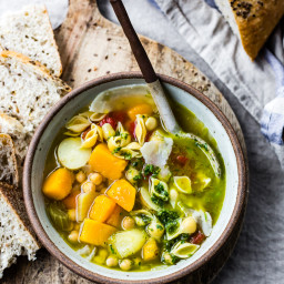 Golden Vegetable Chickpea Minestrone with Lemon Parsley Oil (Quick Version)