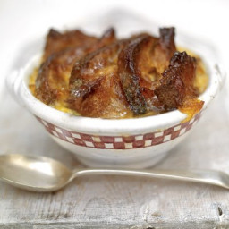 Good old bread and butter pudding with a marmalade glaze and cinnamon and o