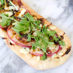 Gorgonzola Cheese, Peach and Bacon Personal Flatbread Pizzas