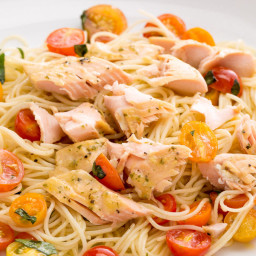 Gorton's Simply Bake Salmon over Garlicky Angel Hair and Cherry Tomatoes