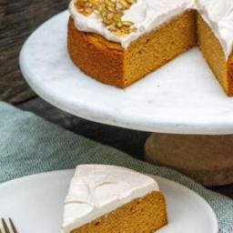 Grain-Free Pumpkin Cake with Cinnamon-Maple Cream Cheese Frosting and Candi