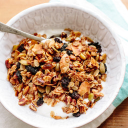 Granola with Pecans, Cherries and Coconut Flakes