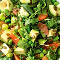 Grapefruit, avocado and leaf salad