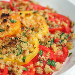Gratineed Tomatoes with Asiago and Fresh Herbs