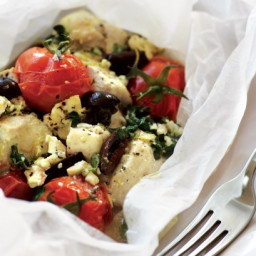 Greek chicken cooked in paper