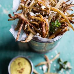 Greek Feta Fries with Roasted Garlic Saffron Aioli.