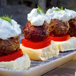 Greek Lamb Meatball Sliders with Tzatziki