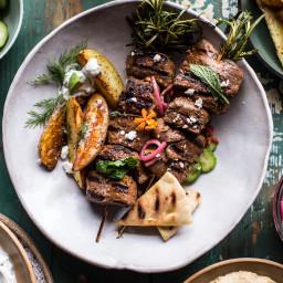 Greek Lamb Souvlaki Plates with Avocado Tzatziki