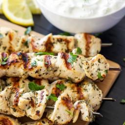 Greek Lemon Chicken Skewers with Tzatziki Sauce