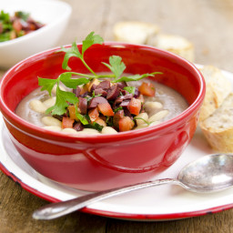 Greek Lentil and White Bean Soup with Olive and Tomato Gremolata