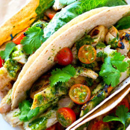 Greek-Marinated Grilled Chicken Tacos with Easy Chimichurri