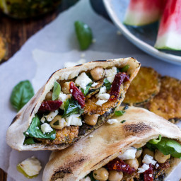 Greek Olive Pesto and Fried Zucchini Grilled Pitas w/Marinated Feta + Garba
