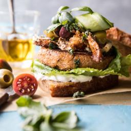 Greek Roasted Cauliflower Burgers with Pan Fried Feta and Tomato Olive Sala