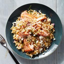 Greek Salmon and Orzo