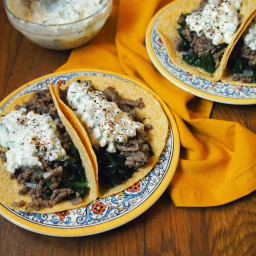 Greek Tacos with Kale and Creamy Feta Sauce