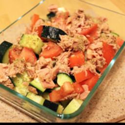 Greek Tuna, Cucumber and Tomato Salad