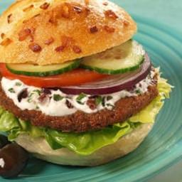 Greek Veggie Burgers with Olive Garlic Sauce Recipe