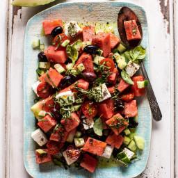 Greek Watermelon Feta Salad with Basil Vinaigrette