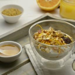 Greek yoghurt pots topped with acacia honey