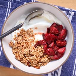 Greek Yogurt With Crispy Quinoa and Roasted Strawberries