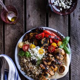 Greek Chicken Souvlaki and Rice Pilaf Plates w/Marinated Veggies + Feta Tza