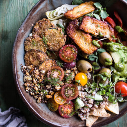 Greek Goddess Grain Bowl with Fried Zucchini, Toasted Seeds and Fried Hallo