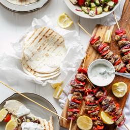 Greek Lamb Souvlaki with a Garlic Yogurt Dip