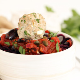 Greek Paleo Turkey Meatballs and Tomato Beet Spaghetti
