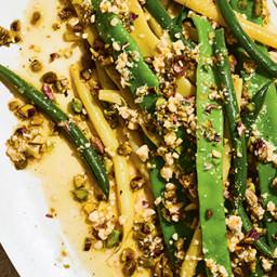 Green Beans with Garlicky Pistachio Vinaigrette