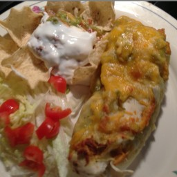 Chicken Burritos Enchilada Style with Green Chili Sauce