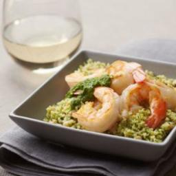 Green Couscous and Shrimp