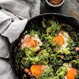 Green Eggs and Ham Shakshuka with Lemon Dill Pesto